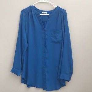 Pleione Blue chiffon long sleeve blouse.
